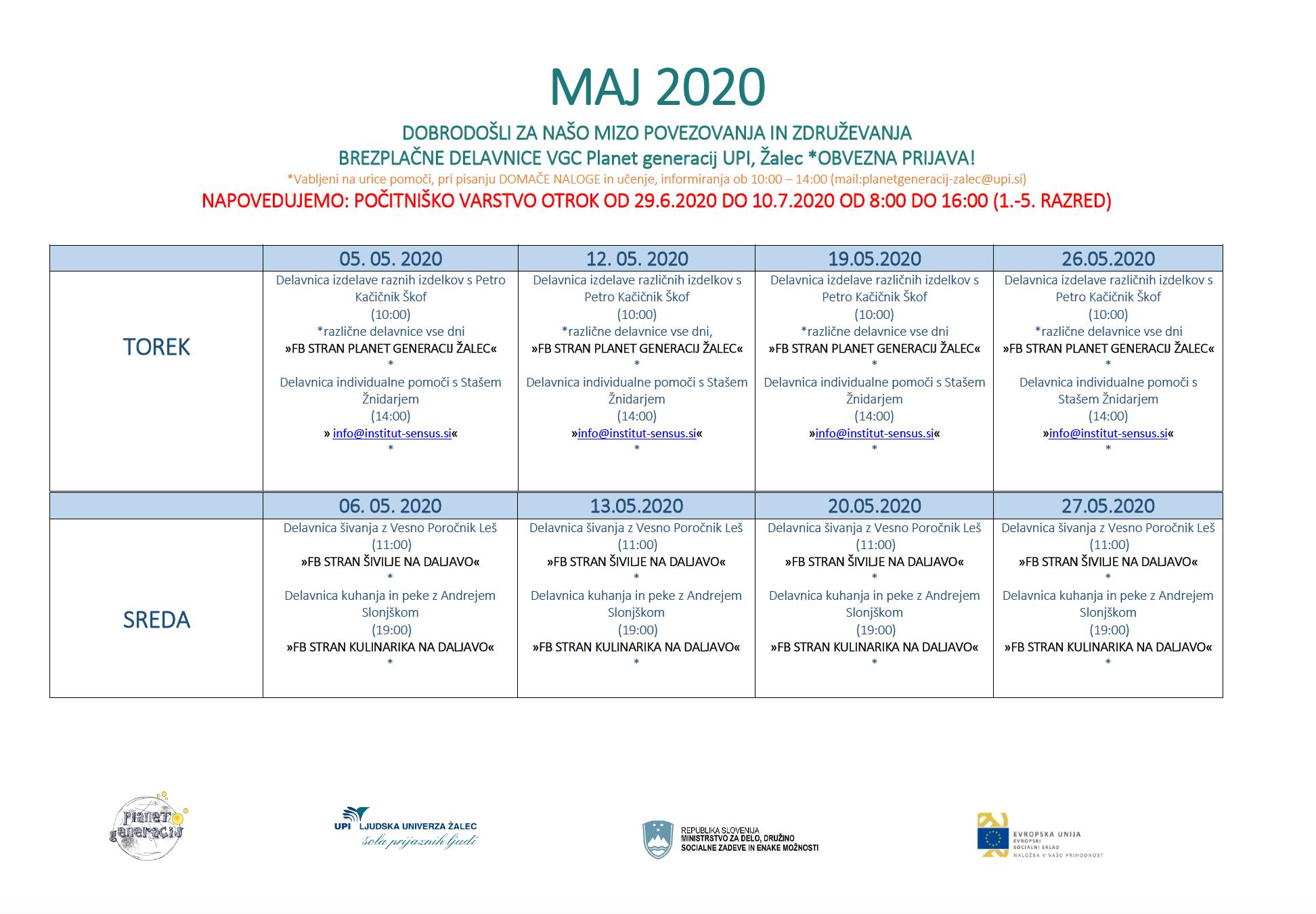 VGC koledar maj